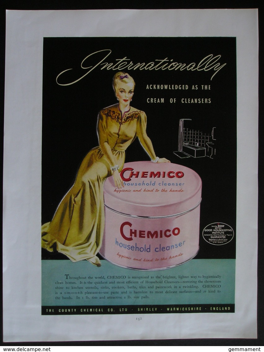 ORIGINAL UNDATED MAGAZINE ADVERT FOR CHEMICO HOUSEHOLD CLEANER - Advertising