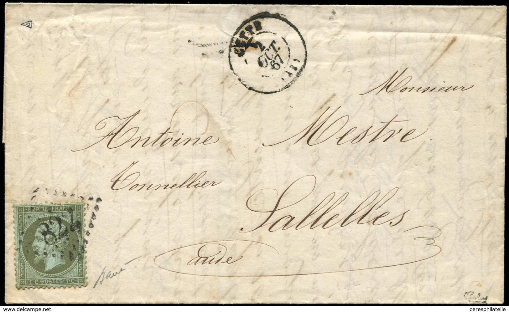Let EMPIRE DENTELE - 19    1c. Olive, Obl. GC 822 S. LAC, Càd T15 CETTE 2/10/67, Arr. SALELLES D'AUDE, Aurait Dû être Ta - 1862 Napoleon III