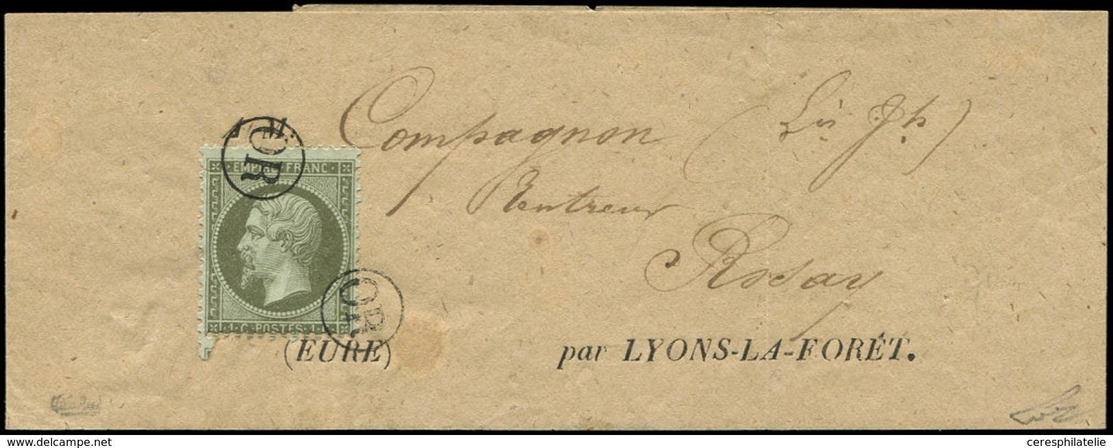 Let EMPIRE DENTELE - 19    1c. Olive, Obl. OR 2 Fois S. Bande D'Imprimé Pour LYONS-LA-FORET, TB, C - 1862 Napoleon III