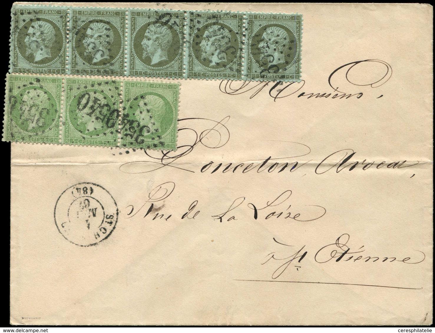 Let EMPIRE DENTELE - 19    1c. Olive, BANDE De 5 (un Ex. Défx) Et N°20 5c. Vert BANDE De 3 (un Ex. Défx), Obl. GC 3540 S - 1862 Napoleon III