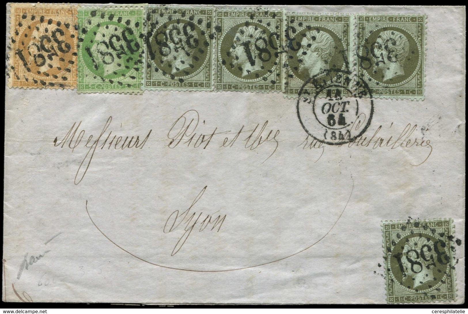 Let EMPIRE DENTELE - 19, 20 Et 21, 1c. (5), 5c. Et 10c. Obl. GC 3581 S. LAC, Càd T15 St ETIENNE 14/10/64, TTB - 1862 Napoleon III