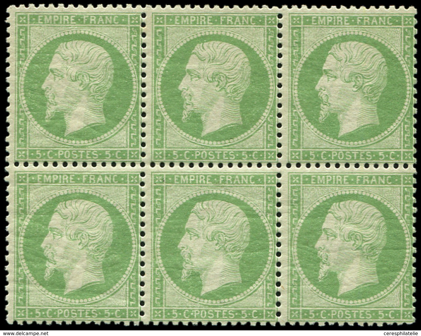 ** EMPIRE DENTELE - 20    5c. Vert, BLOC De 6, 1 Ex. *, Très Frais Et TTB - 1862 Napoleon III