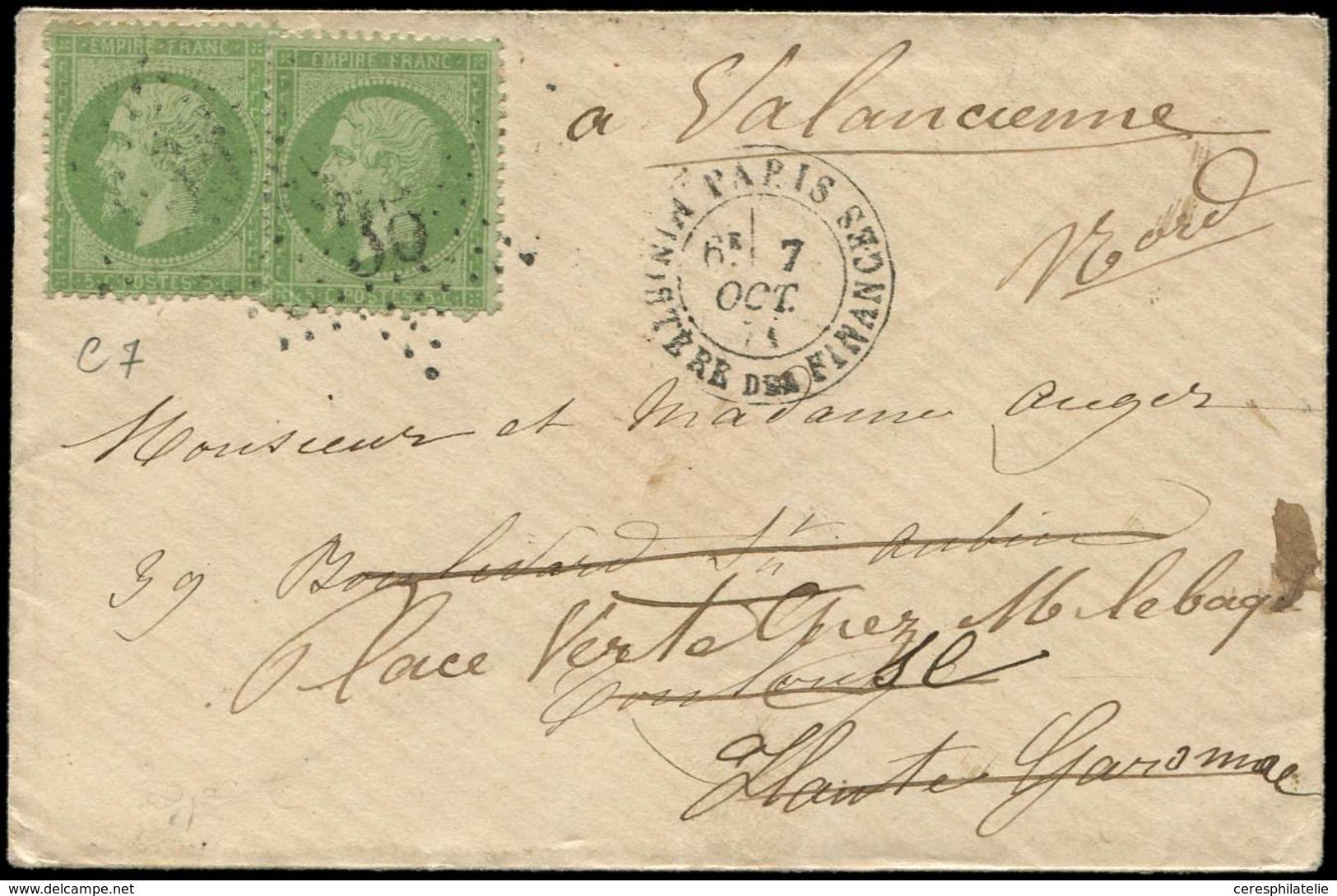 Let EMPIRE DENTELE - 20    5c. Vert (2) Obl. Etoile 35 S. Env., Càd MINISTERE Des FINANCES 7/10/71, Tarif 10c. Pour Env. - 1862 Napoleon III