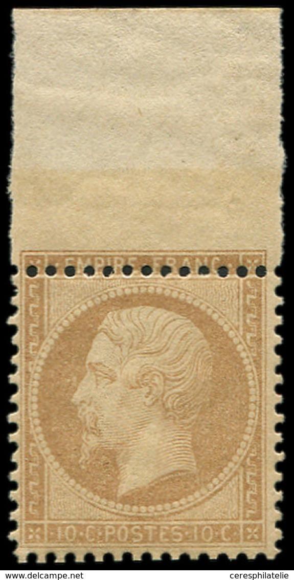 ** EMPIRE DENTELE - 21   10c. Bistre, Bdf, PIQUAGE Décalé, Format Réduit, TTB - 1862 Napoleon III