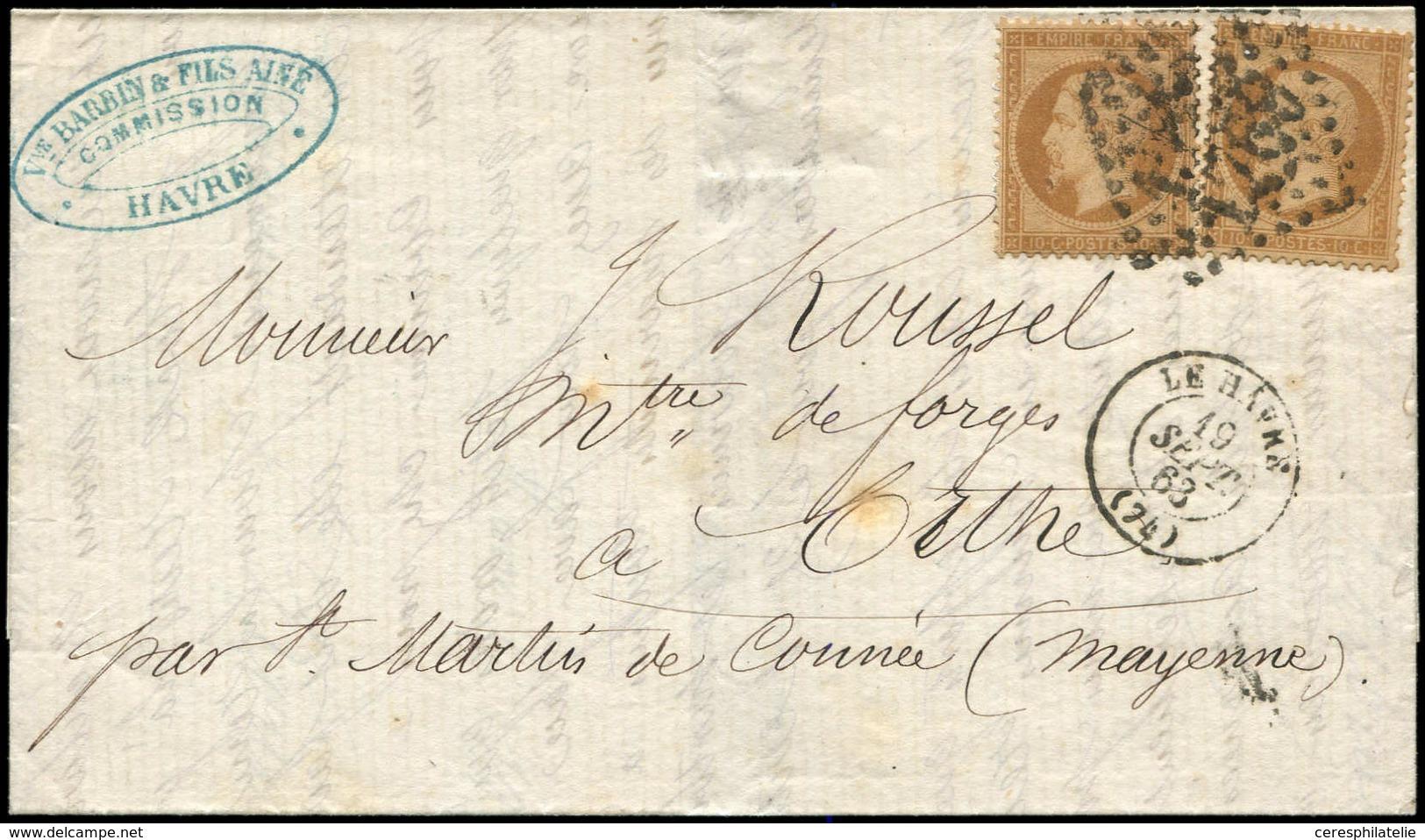 Let EMPIRE DENTELE - 21b  10c. Bistre-brun (2) Obl. GC 1769 S. LAC, Càd T15 LE HAVRE 19/9/63, Arr. T22 St MARTIN De CONN - 1862 Napoleon III