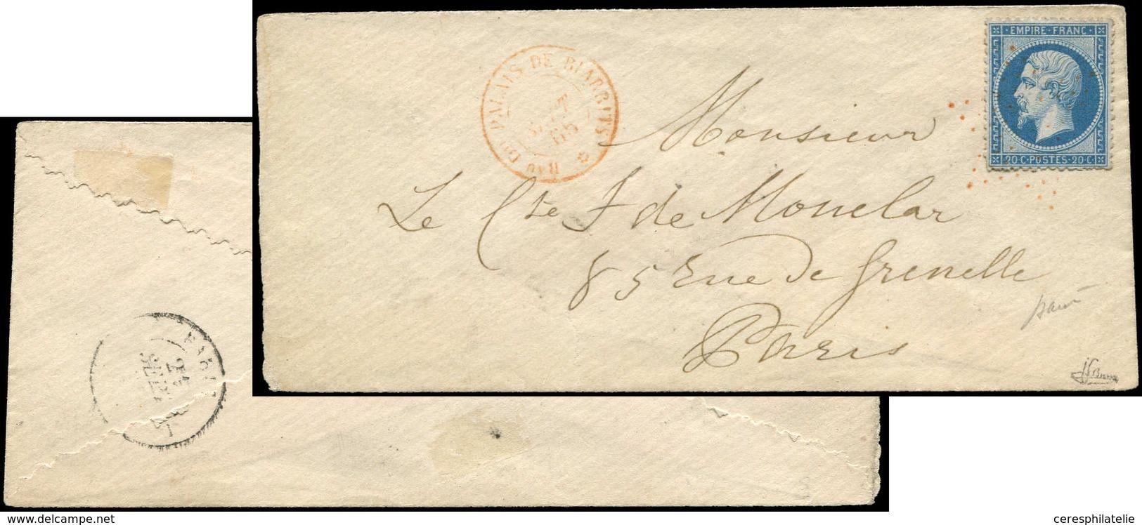 Let EMPIRE DENTELE - 22   20c. Bleu, Obl. ETOILE S. Env., Càd Bau Du PALAIS De BIARRITS 9/65, Le Tout En ROUGE, TB. J, C - 1862 Napoleon III