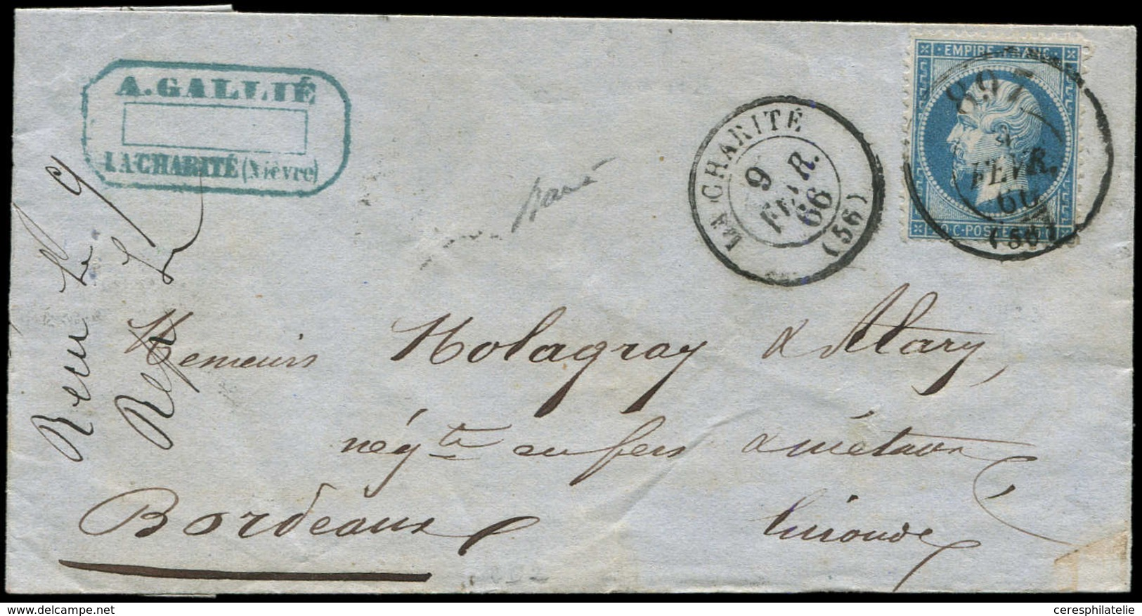 Let EMPIRE DENTELE - 22   20c. Bleu, Obl. Càd Bureau De Passe 897 9/2/66 S. LAC, Càd T15 LA CHARITE 9/2, TB - 1862 Napoleon III