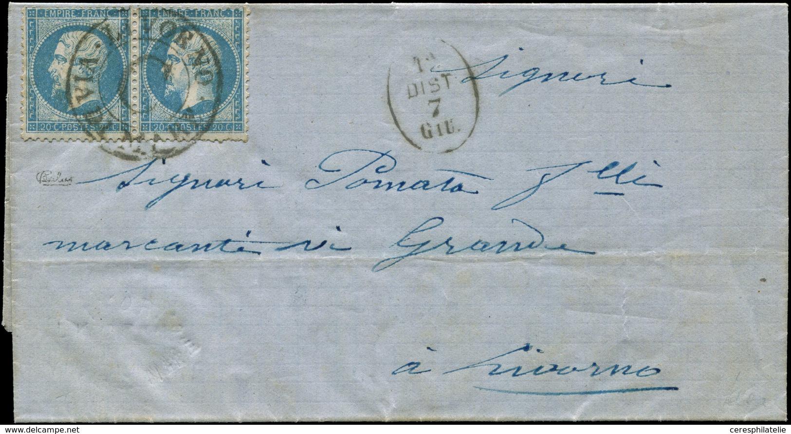 Let EMPIRE DENTELE - 22   20c. Bleu, PAIRE Obl. Cachet LIVORNO/VIA DI MARE/C S. LAC De BASTIA 6/6/64, Cachet Ovale 1a/DI - 1862 Napoleon III