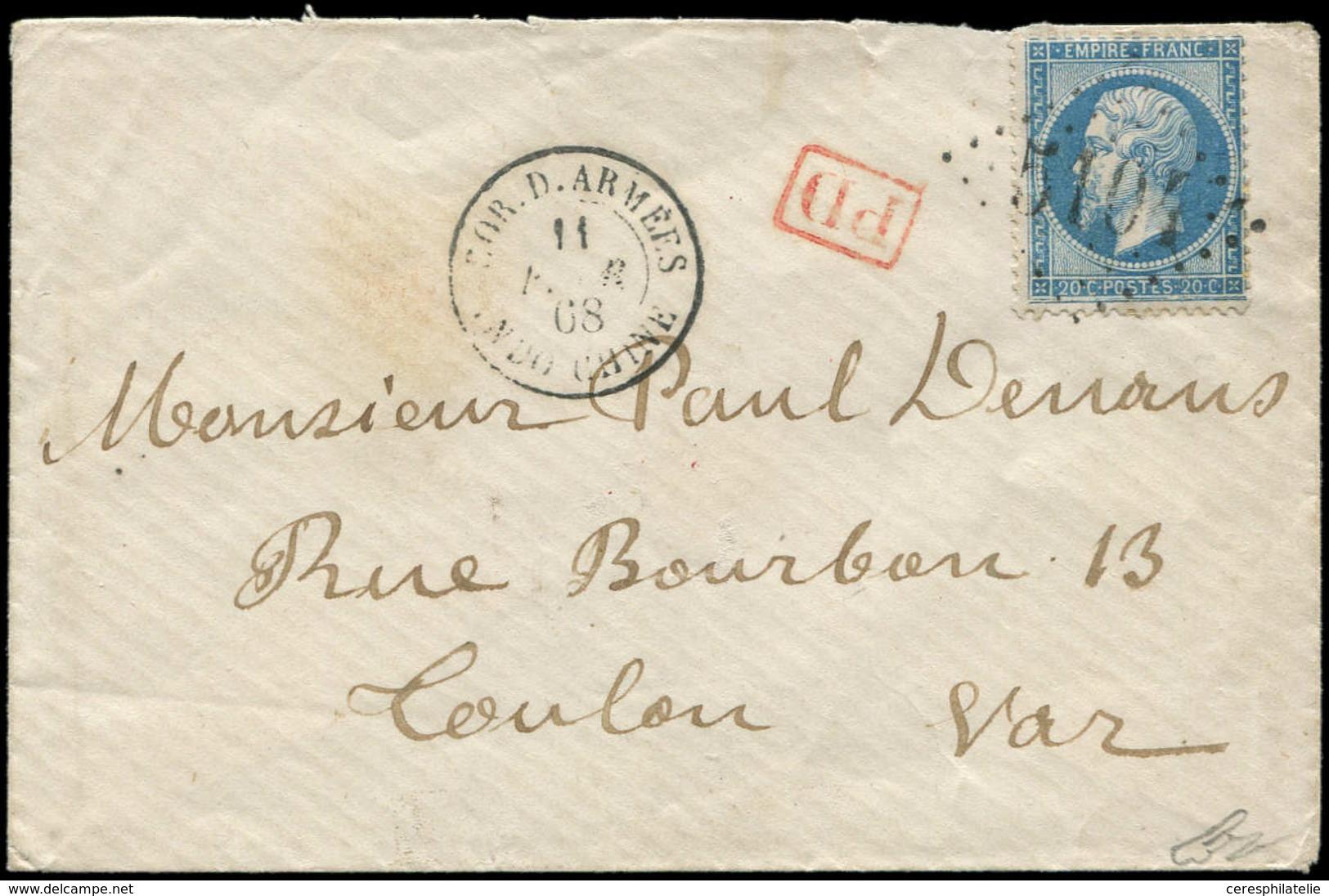 Let EMPIRE DENTELE - 22   20c. Bleu, Obl. GC 5104 De SHANGHAI S. Env., Càd COR. D. ARMEES INDO-CHINE 11/2/68, Arr. TOULO - 1862 Napoleon III