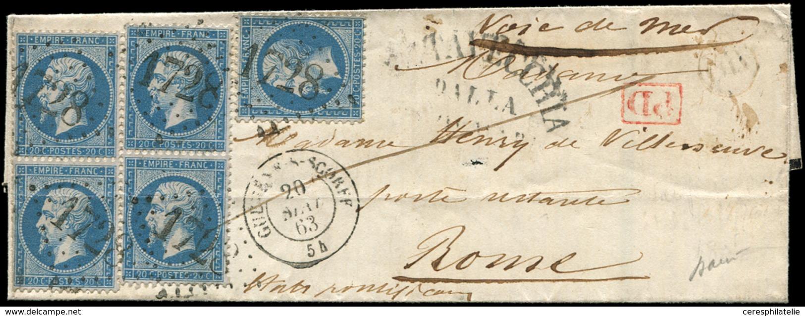 Let EMPIRE DENTELE - 22   20c. Bleu, 2 PAIRES (petit Pli D'archive S. L'une) Et 1 Ex., Obl. GC 1728 S. LAC, Càd T15 GUEM - 1862 Napoleon III