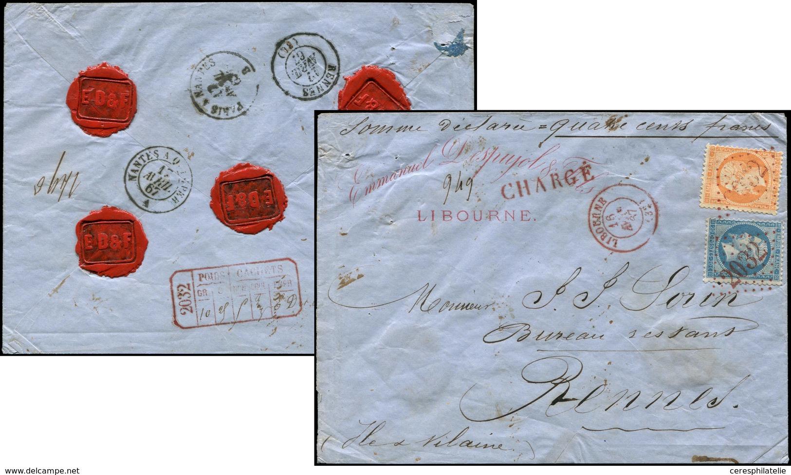 Let EMPIRE DENTELE - 22 Et 23, 20c. Bleu Et 40c. Orange Obl. GC 2032 S. Env. CHARGE, Càd T15 LIBOURNE 16/4/67, Le Tout E - 1862 Napoleon III