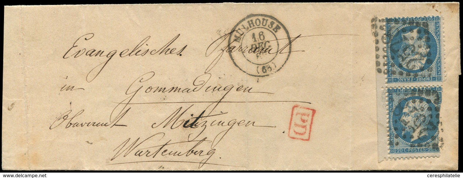 Let EMPIRE DENTELE - T22b 20c. Bleu, TETE-BECHE, Petit Bdf, Un Ex. Entamé, Obl. GC 2578 S. LSC, Càd T15 MULHOUSE 16/12/( - 1862 Napoleon III
