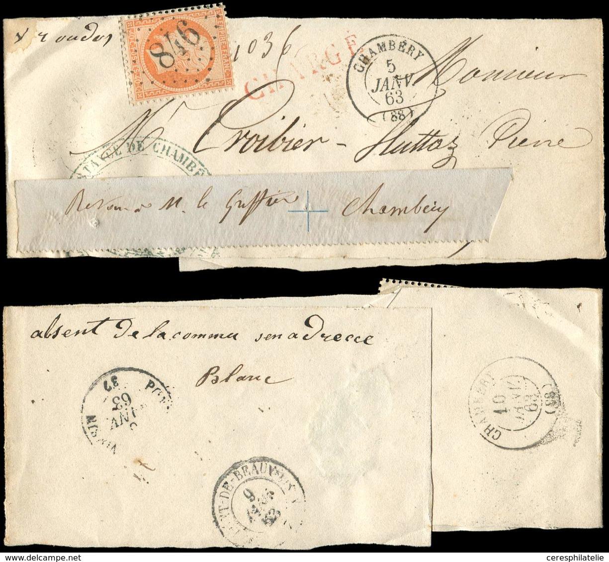 Let EMPIRE DENTELE - 23   40c. Orange, Obl. GC 846 S. Bande CHARGEE Du Greffe 5/1/63 Réexp. à Chambéry Avec Bande De Bdf - 1862 Napoleon III