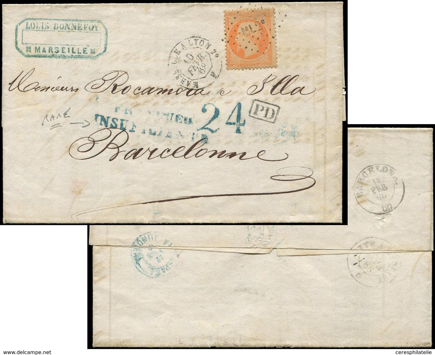 Let EMPIRE DENTELE - 23   40c. Orange, Obl. Amb. ML2e S. LAC, Càd MARSEILLE A LYON 2e 10/2/68, RR Griffe FRANQUEO INSUFI - 1862 Napoleon III