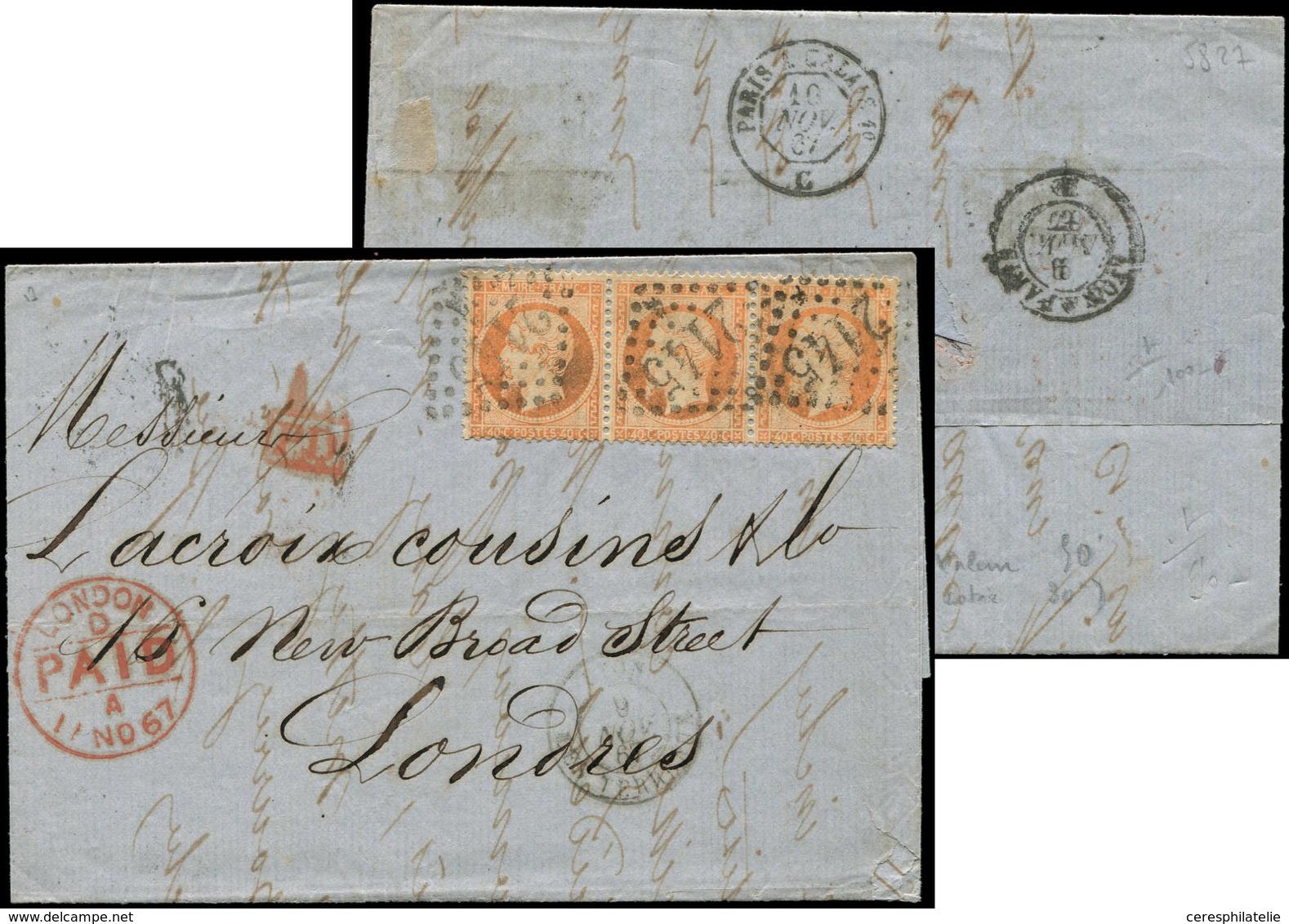 Let EMPIRE DENTELE - 23   40c. Orange, BANDE De 3 Obl. GC 2145 S. LAC, Càd LYON 9/11/67, Arr. LONDON, TB - 1862 Napoleon III