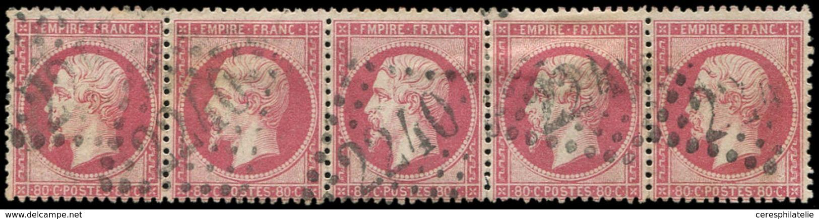 EMPIRE DENTELE - 24   80c. Rose, BANDE De 5 Obl. GC 2240, TB - 1862 Napoleon III