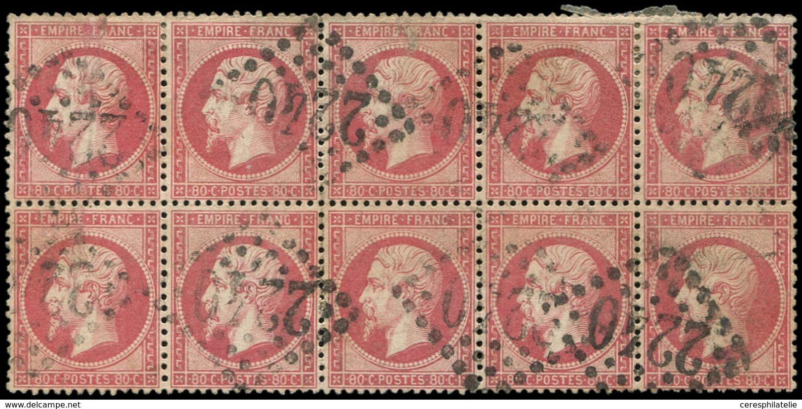 EMPIRE DENTELE - 24   80c. Rose, BLOC De 10 Obl. GC 2240, 4 Ex. Défx, Sinon TB - 1862 Napoleon III