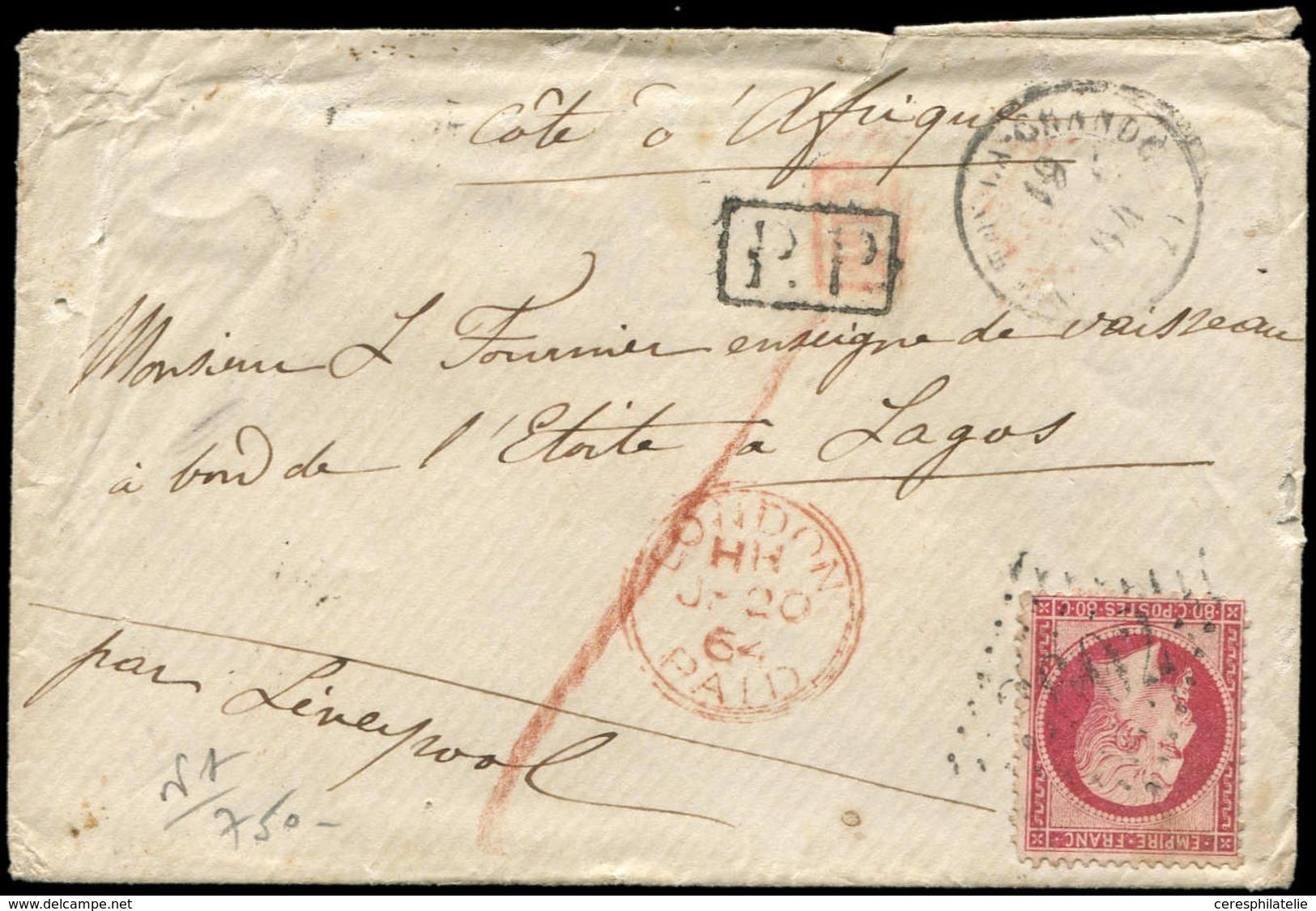 Let EMPIRE DENTELE - 24   80c. Rose, Obl. GC 3602 S. Env. Avec Longue Corresp., Càd T15 Ste FOY La GRANDE 19/1/64, Passa - 1862 Napoleon III