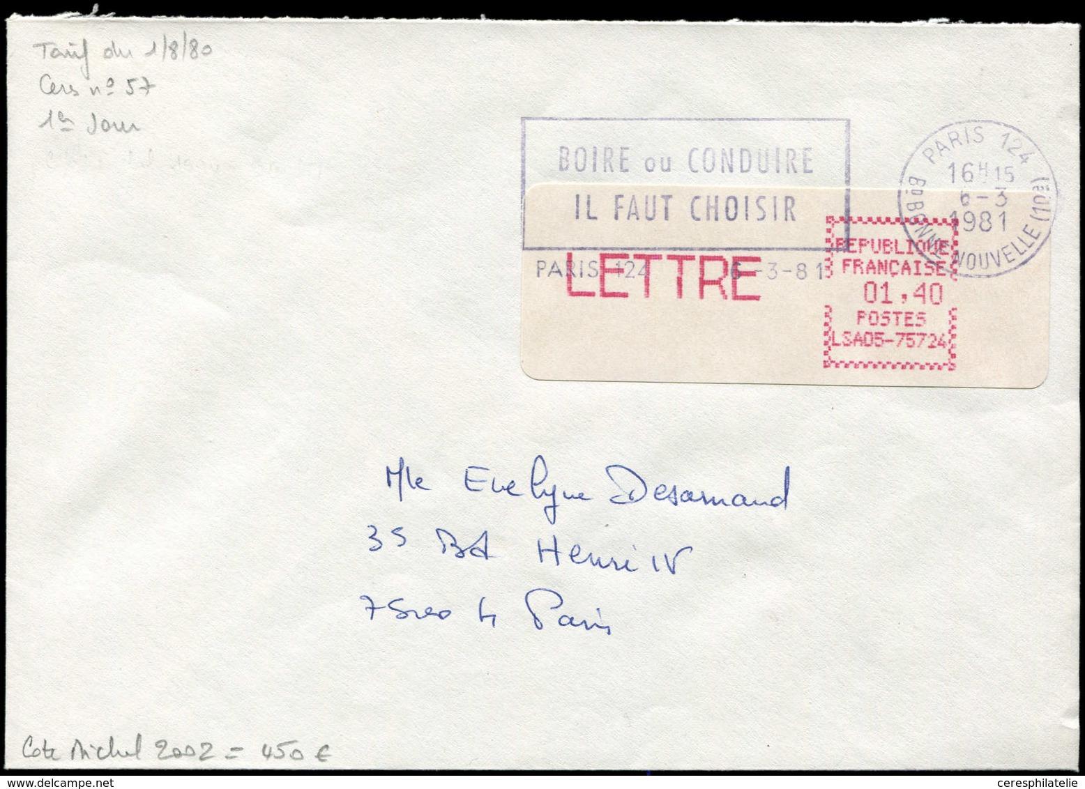 Let Spécialités Diverses - L.S.A. 57 : LSA05-75724, 1,40 LETTRE, Obl. Paris 124 6/3/81 (1er Jour) S. Env., TB, Cote Mich - Vignettes D'affranchissement