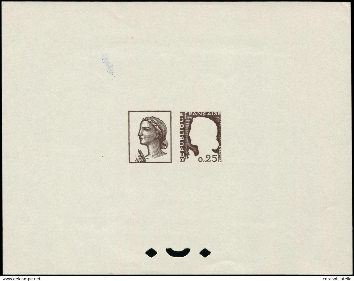 VARIETES - 1263   Marianne De Decaris, épreuve D'artiste Collective, Dessin Et Légendes En Brun, TB, RR - Errors & Oddities