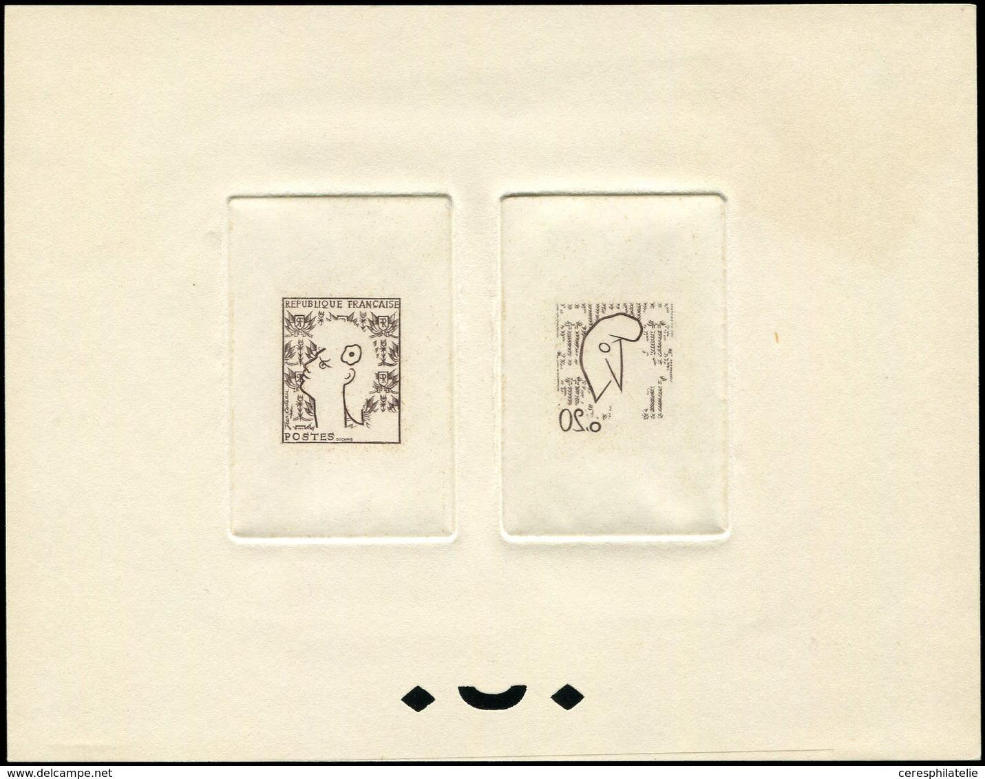 VARIETES - 1282   Marianne De Cocteau, épreuve D'artiste Collective Des 2 éléments En Brun, TB, RR - Errors & Oddities
