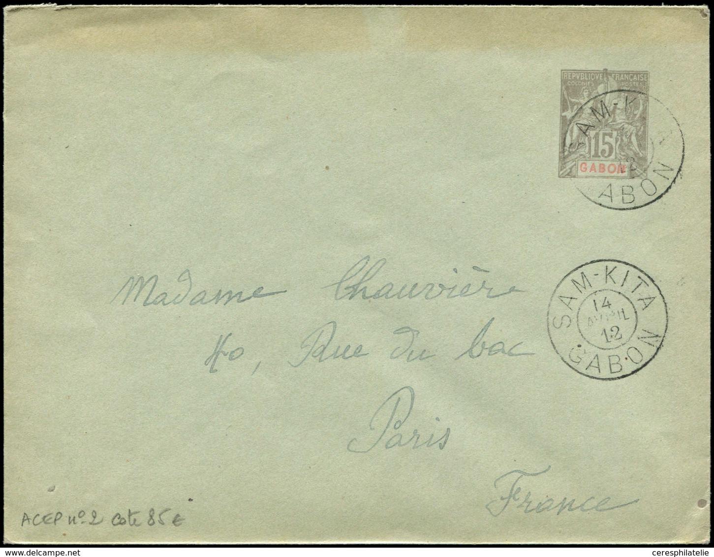 Let GABON Env. Entier 15c. Gris Obl. SAM-KITA 14/4/12, Superbe - Gabon (1886-1936)