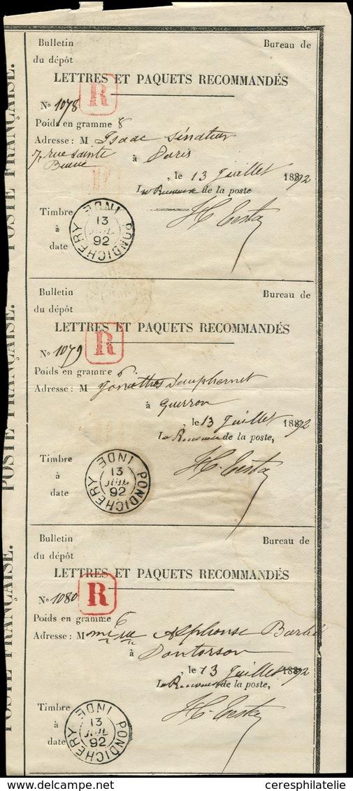 Let INDE Bande De 3 Récépissés De Lettres Rec. Avec Càd PONDICHERY 13/7/92, TB - India (1892-1954)