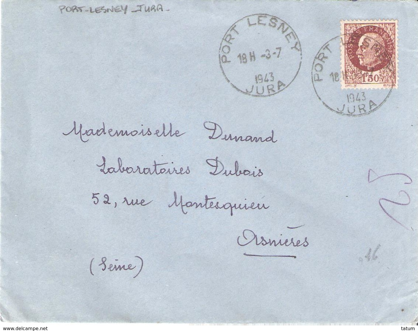 Jura :- PORT LESNAY Dateur Type A5 - Postmark Collection (Covers)