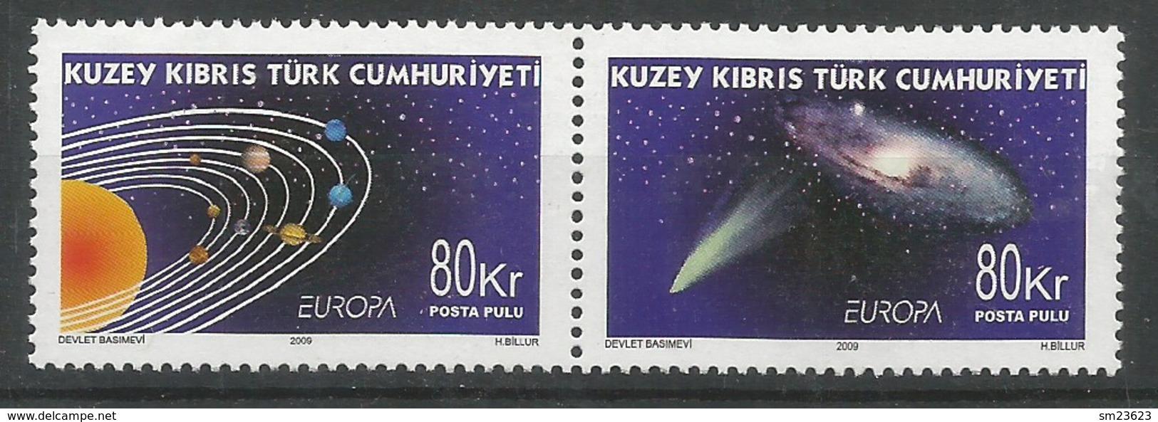 Türkisch-Zypern  2009  Mi.Nr. 698 / 699 , EUROPA CEPT - Astronomie - Postfrisch / MNH / (**) - Europa-CEPT