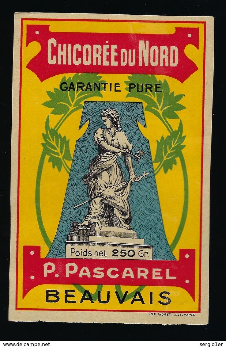 Ancienne Etiquette Chicorée Du Nord  P Pascarel Beauvais Poids Net 250g - Obst Und Gemüse