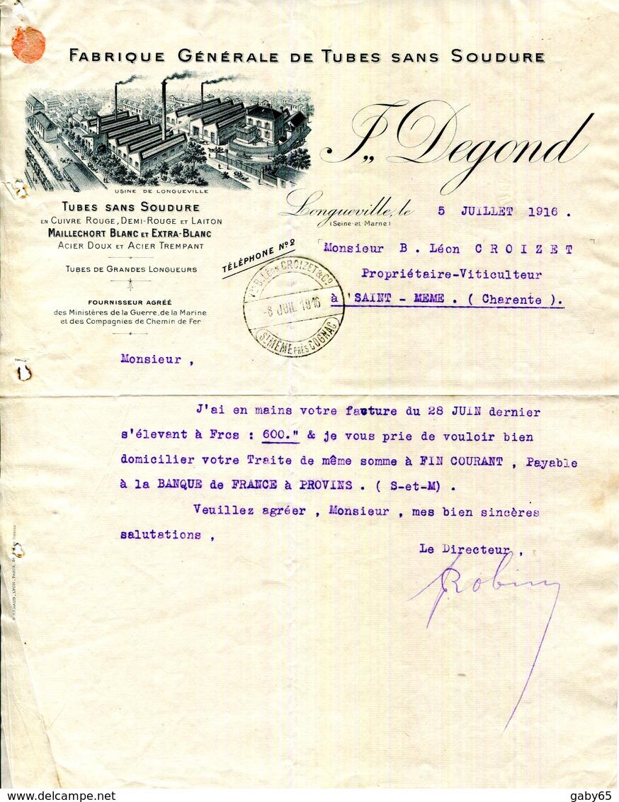 LONGUEVILLE.FABRIQUE GENERALE DE TUBES SANS SOUDURE EN CUIVRE & LAITON.J.DEGOND. - France