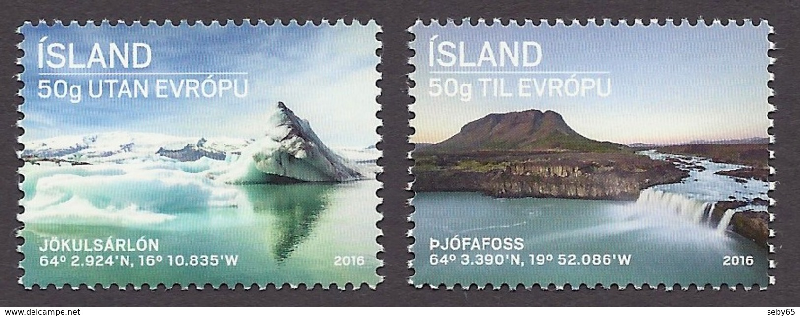 Iceland / Island 2016 - Tourism, Tourisme, Glacier Jokulsarlon, Waterfall Pjofafoss, Mountain View MNH - 1944-... Republique