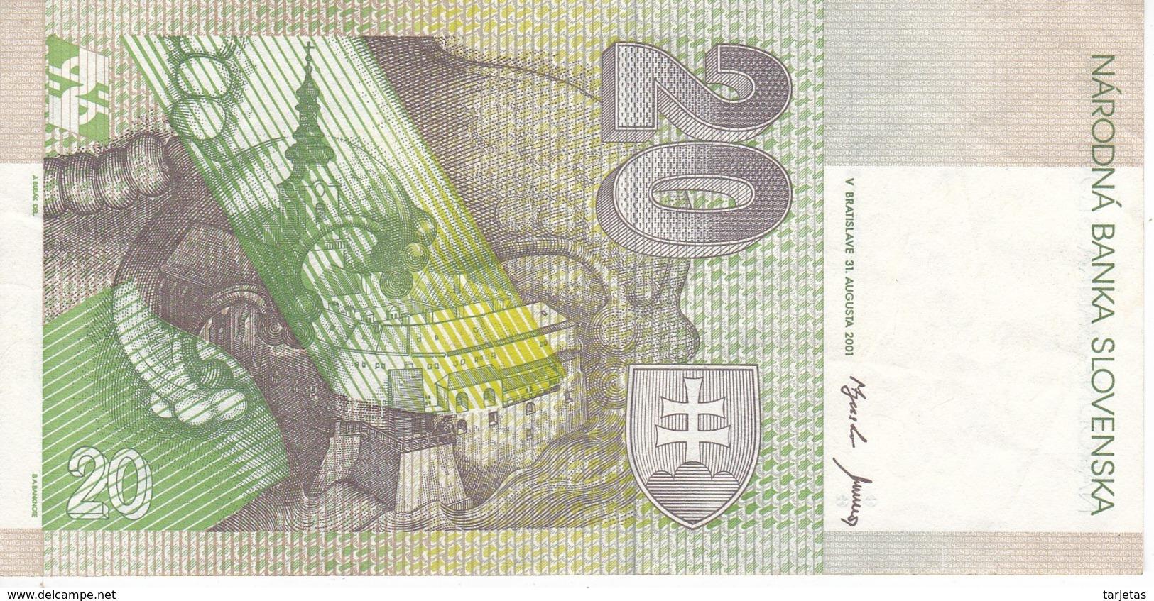 BILLETE DE ESLOVAQUIA DE 20 KORUN DEL AÑO 2001 (BANK NOTE) - Slovacchia