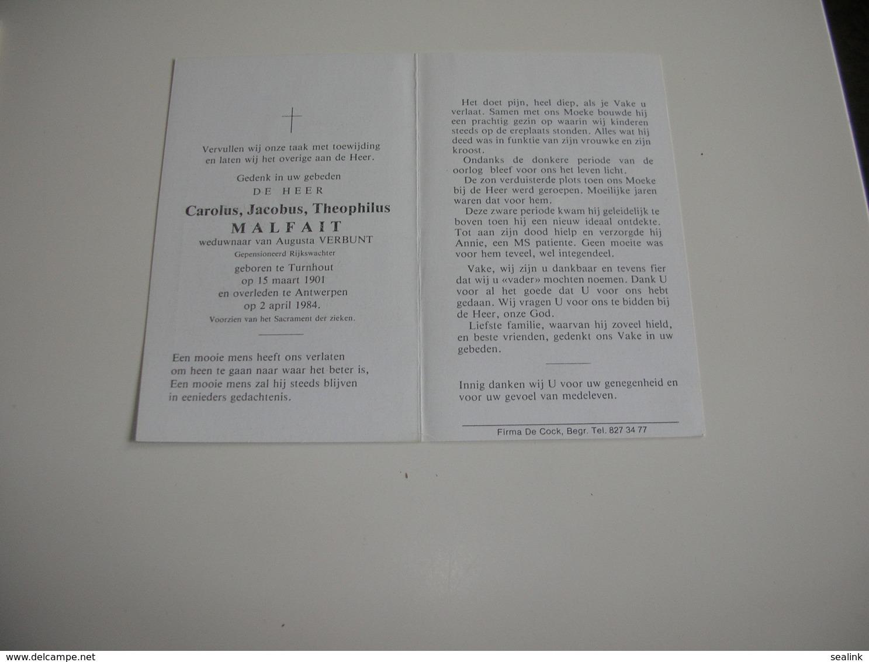 Rijkswachter Carolus Malfait (Turnhout 1901-Antwerpen 1984) - Devotieprenten