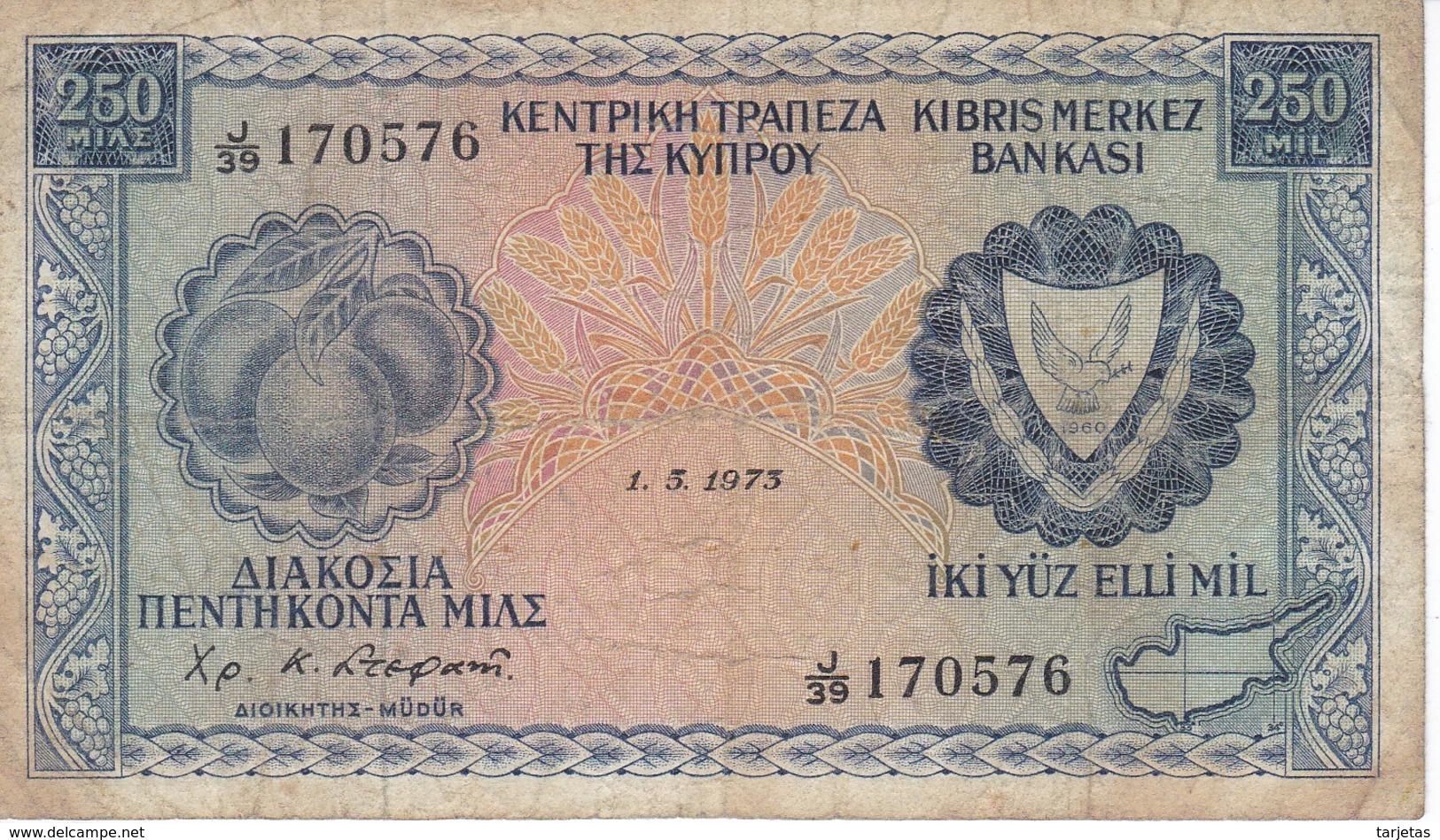 BILLETE DE CHIPRE DE 250 MILS DEL AÑO 1973 (BANKNOTE) - Chipre