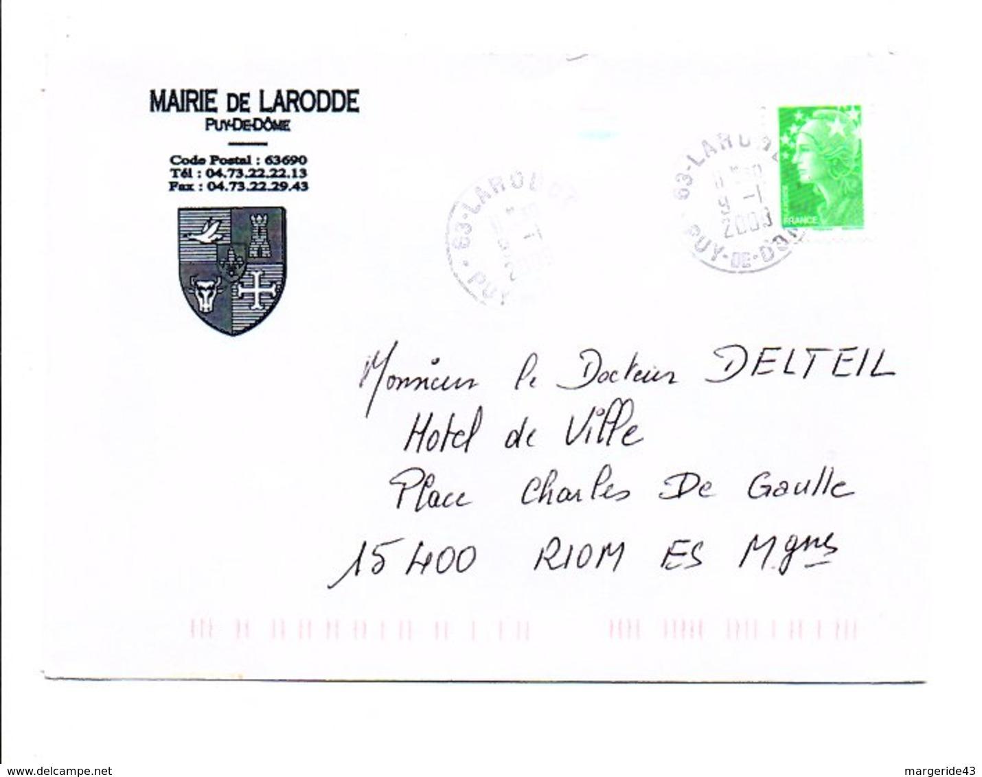 LETTRE DE MAIRIE DE LARODDE PUY DE DOME - 1961-....