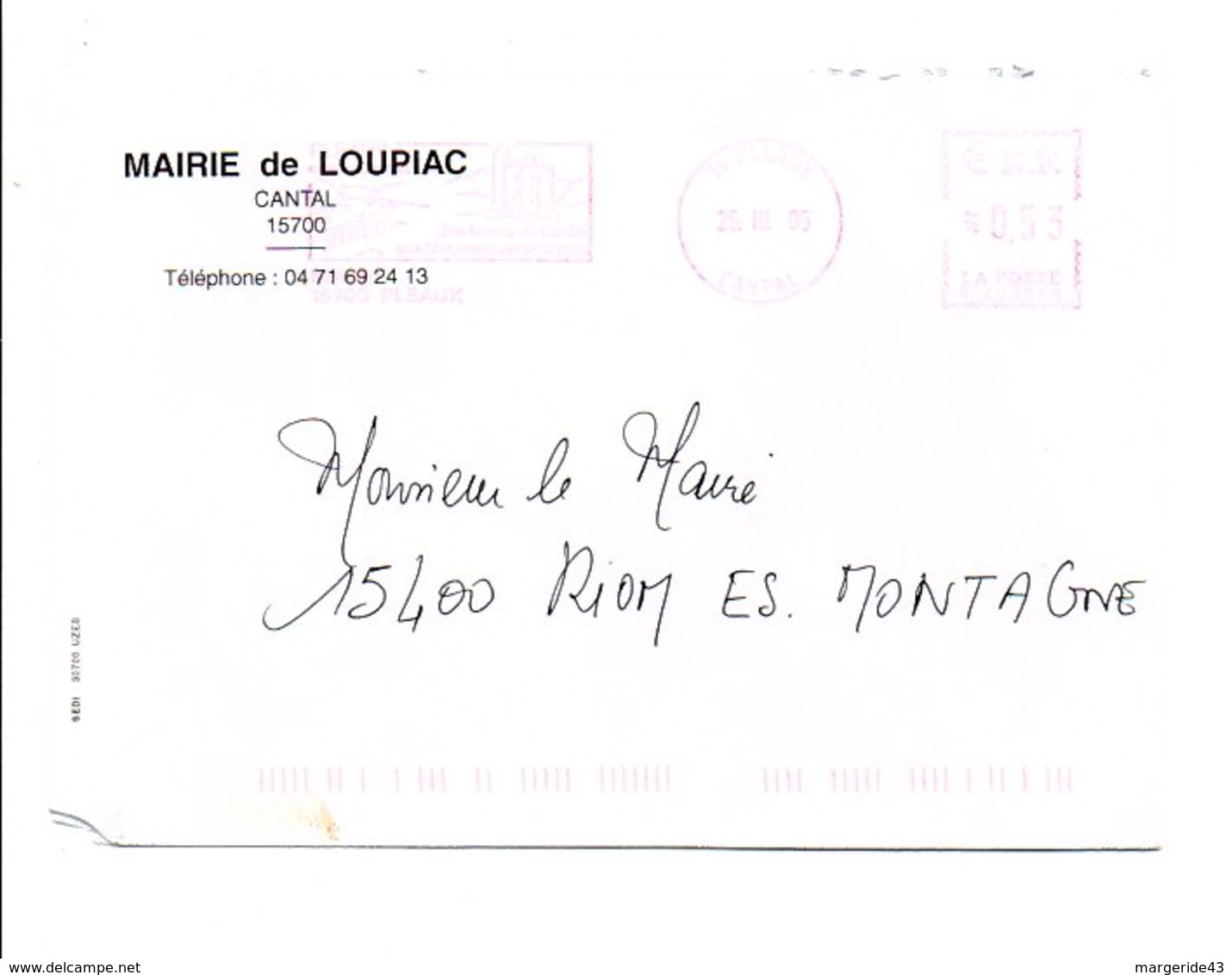 LETTRE DE MAIRIE DE LOUPIAC CANTAL - Marcophilie (Lettres)