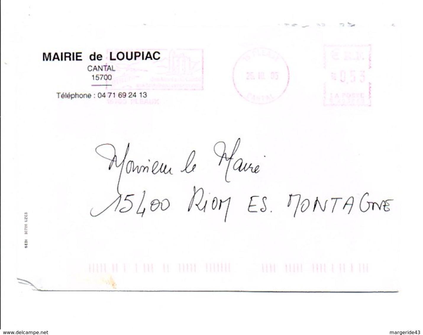 LETTRE DE MAIRIE DE LOUPIAC CANTAL - Postmark Collection (Covers)