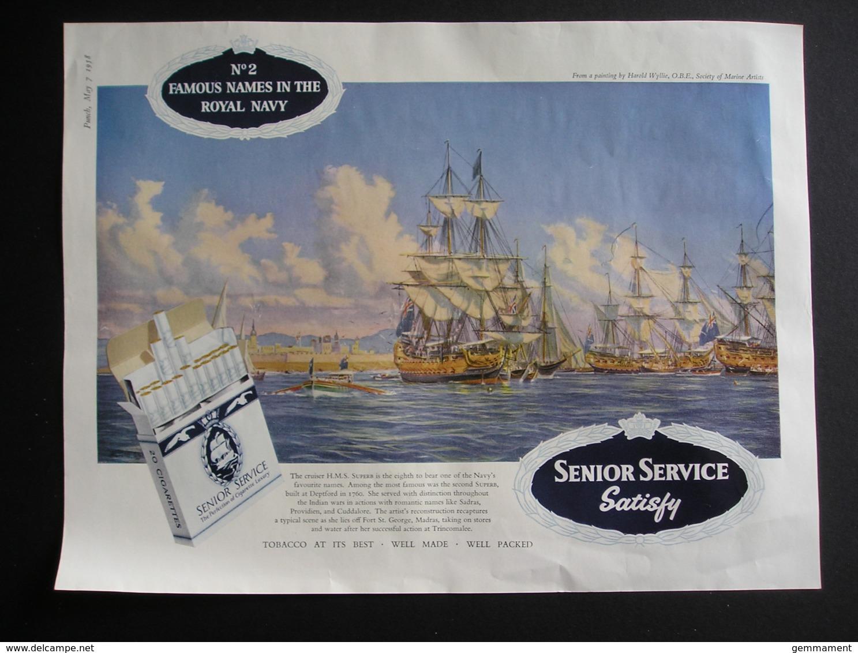 ORIGINAL 1958 MAGAZINE ADVERT FOR  SENIOR SERVICE CIGARETTES. HMS SUPERB - Other