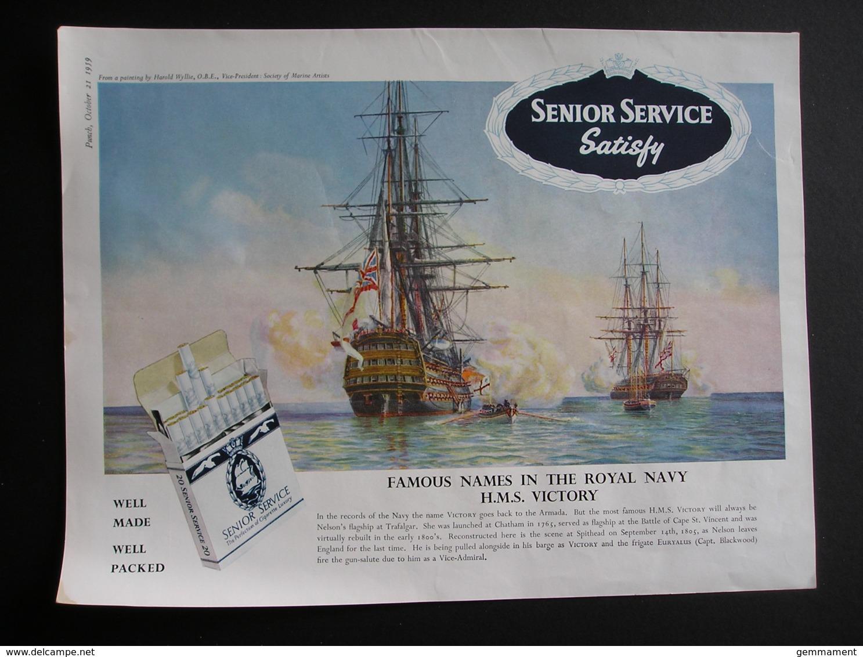 ORIGINAL 1959 MAGAZINE ADVERT FOR  SENIOR SERVICE CIGARETTES. HMS VICTORY - Advertising