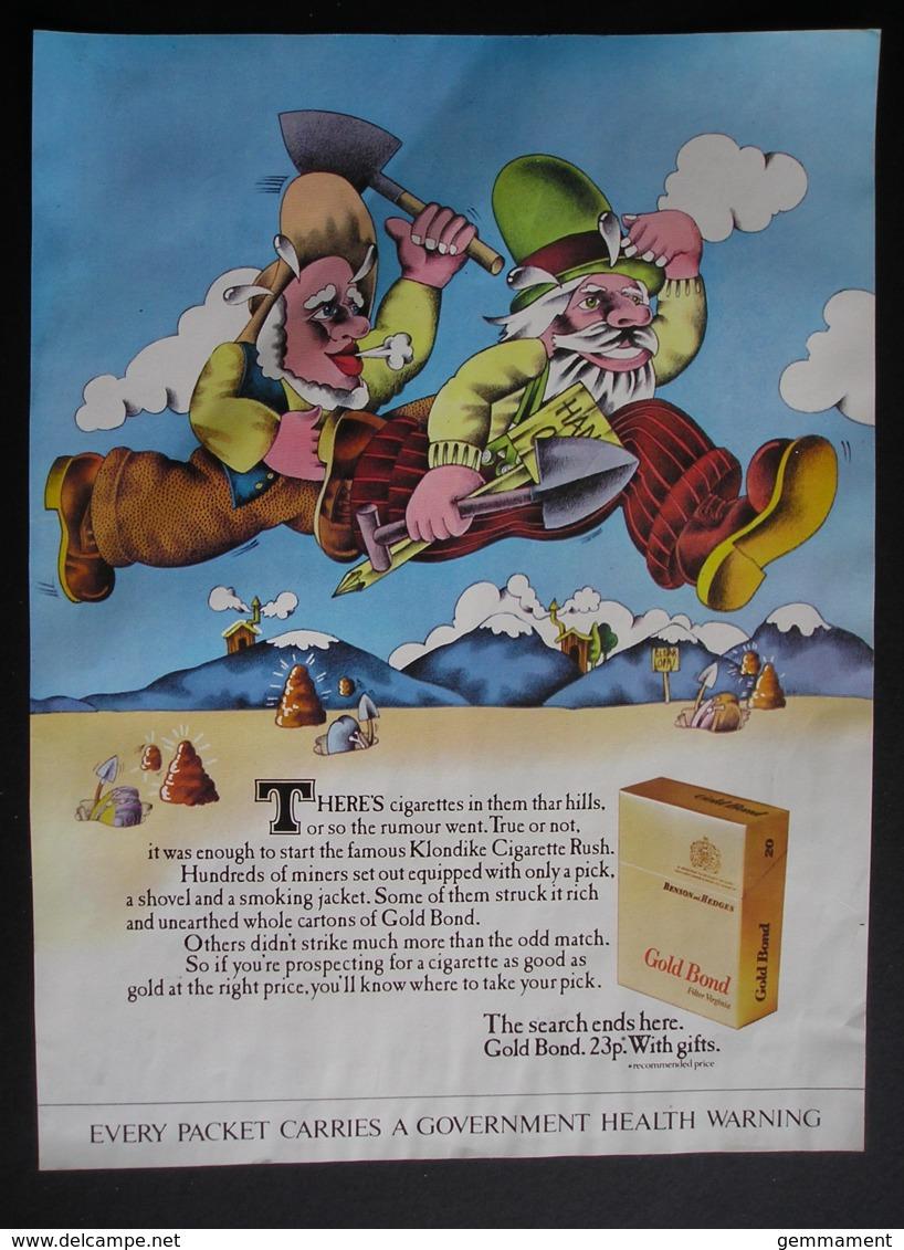 ORIGINAL 1972 MAGAZINE ADVERT FOR  BENSON @ HEDGES GOLD BOND CIGARETTES. - Advertising