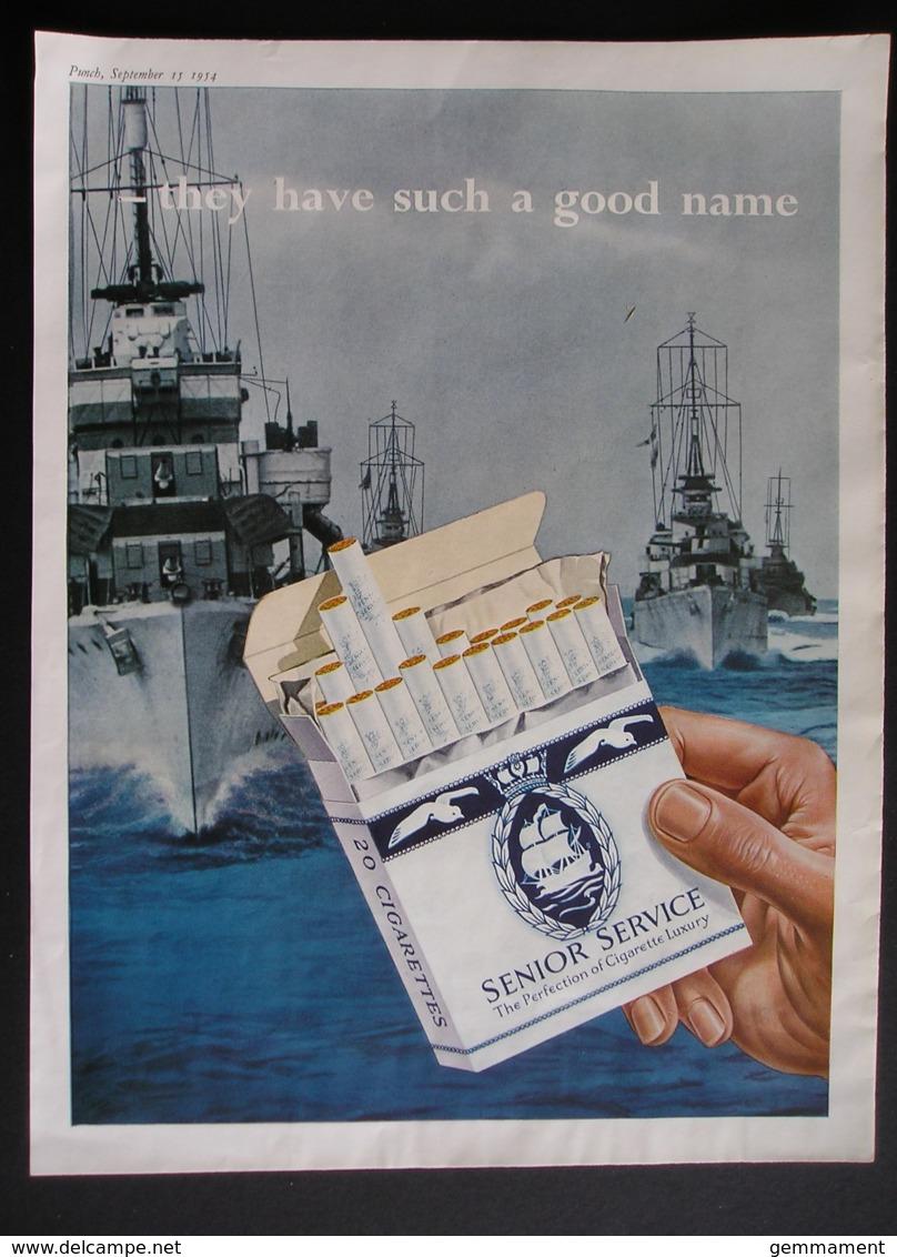 ORIGINAL 1954 MAGAZINE ADVERT FOR  SENIOR SERVICE CIGARETTES. - Advertising