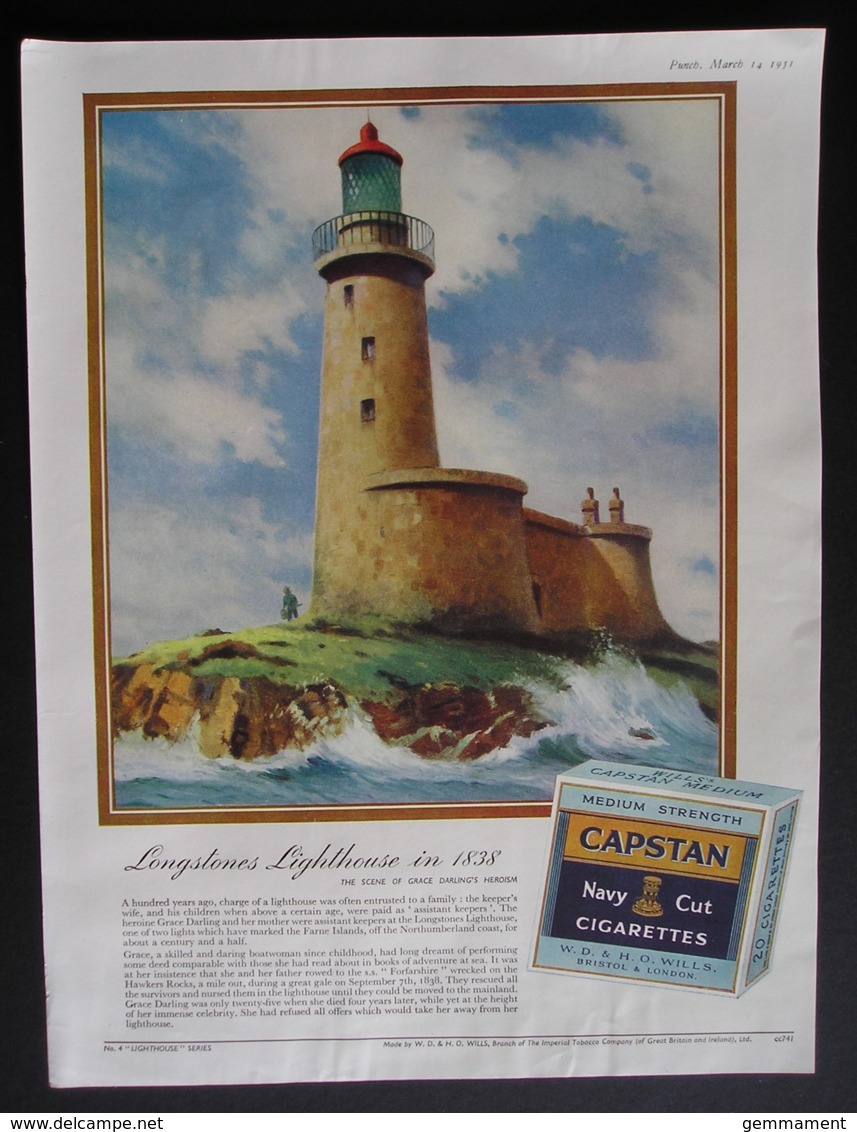ORIGINAL 1951 MAGAZINE ADVERT FOR  CAPSTAN CIGARETTES.  LONGSTONES LIGHTHOUSE - Advertising