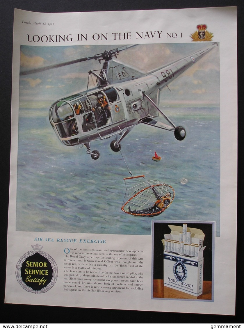 ORIGINAL 1956 MAG ADVERT FOR SENIOR SERVICE CIGARETTES.  AIR SEA RESCUE - Advertising