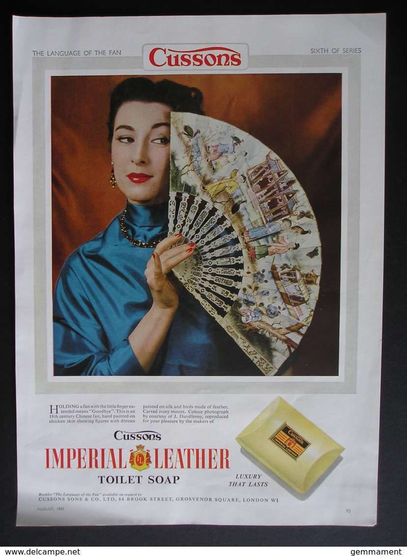 ORIGINAL 1954 MAGAZINE ADVERT FOR IMPERIAL LEATHER SOAP. FAN  SERIES . NO 6 - Other