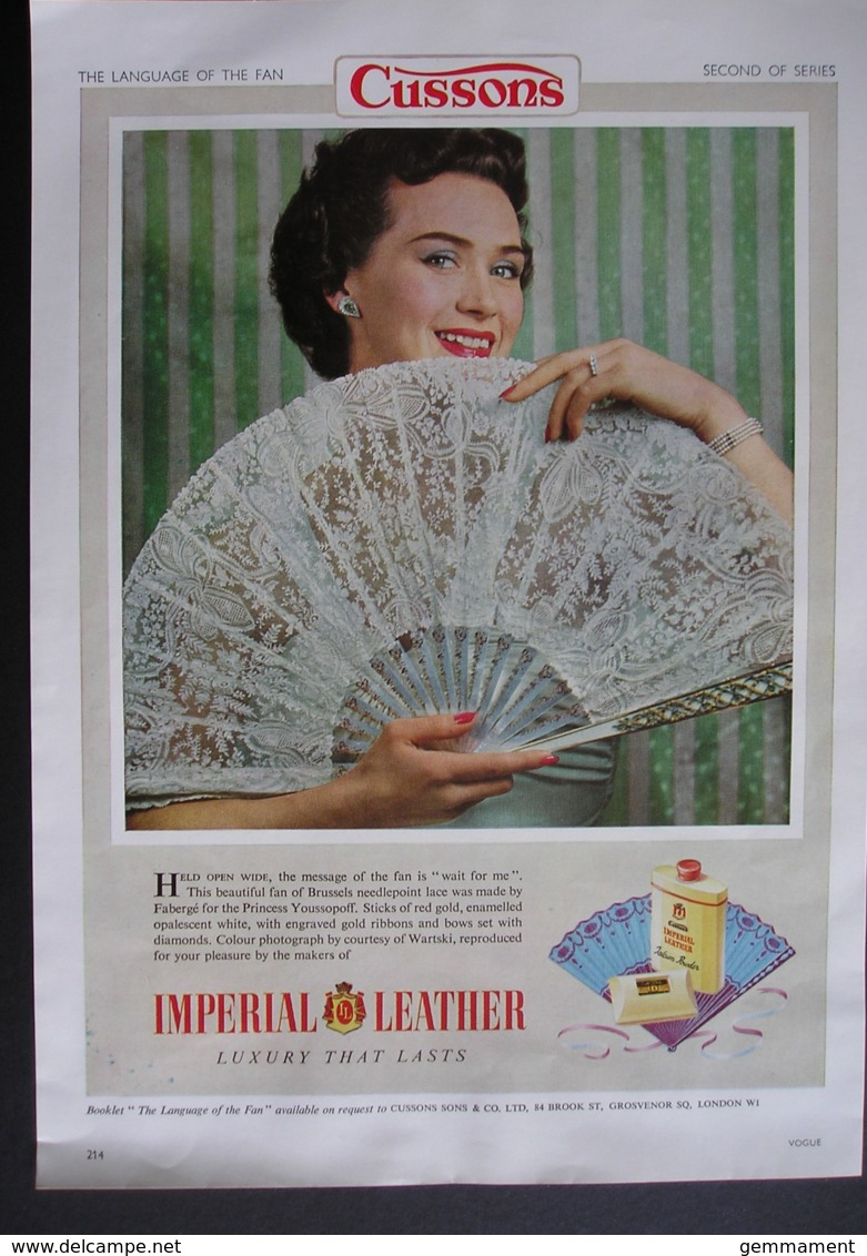 ORIGINAL 1954 MAGAZINE ADVERT FOR IMPERIAL LEATHER SOAP. FAN  SERIES . NO 2 - Advertising