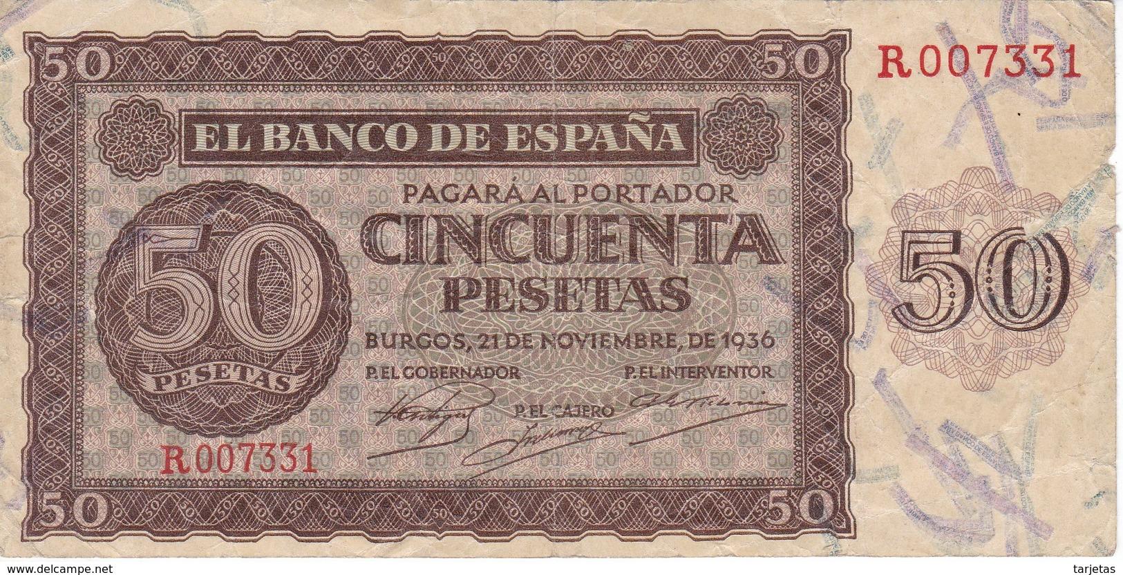 BILLETE DE BURGOS DE 50 PTAS DEL 21/11/1936 SERIE R  (BANKNOTE) - [ 3] 1936-1975 : Régimen De Franco