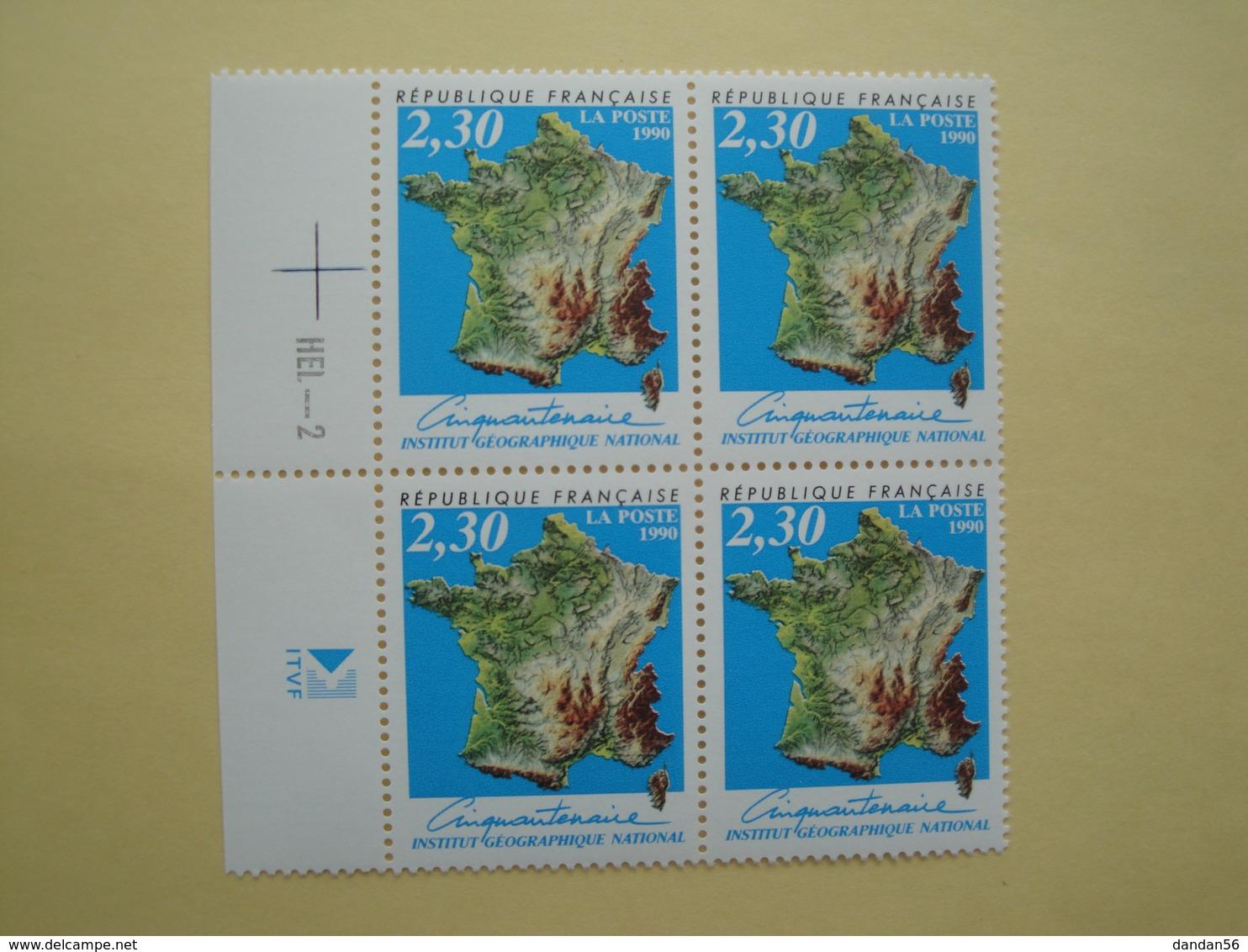 1990 France  Yv 2662 X 4 ** IGN  Carte De France  Cote 4.40 € Michel 2798 SG 3000  Map - Unused Stamps
