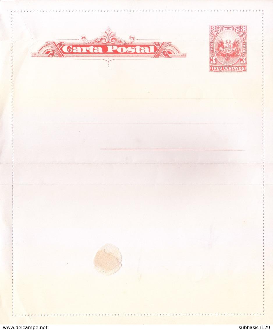 PERU : UNUSED / MINT, PRE STAMPED OFFICIAL POSTAL STATIONERY CARD - Peru