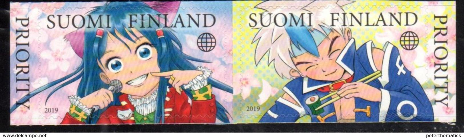 FINLAND, 2019, MNH, JAPANESE INFLUENCES, CARTOONS, 2v - Enfance & Jeunesse
